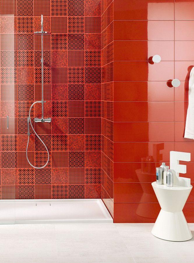 Ceramic wall tiles wonderwall by ascot ceramiche bathroom for Red bathroom tiles design