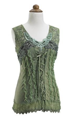 GaelSong Exclusive! A woodland sprite, clad in leaves, flowers and vines, flits through the forest. Follow the elusive spirit, arrayed in this confection of lace, ribbons and ruffles, backed by comfortable green jersey knit and panels of floral cotton.