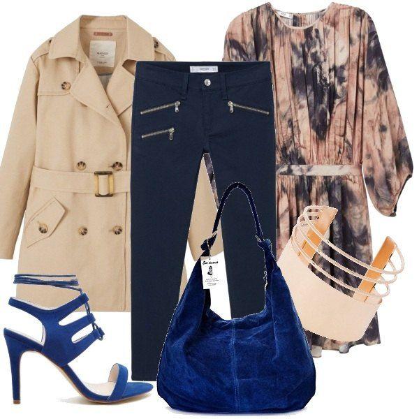 In questi giorni dove non si capisce che tempo fa, ci vestiamo un po' coperte un po' no. Propongo un vestito leggero con fantasia marmorizzata fra il blu, il rosa antico e il beige, pantaloni scuri aderenti, sandalo blu royal in camoscio come la borsetta. Un fantastico braccialetto completa questo simpatico outfit. Ah! Non dimentichiamo il trench super chic.