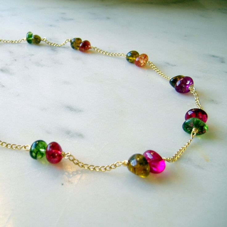 Colourful necklace, hypoallergenic non tarnish chain and coloured stones, multi coloured ethical jewelry, summer holiday gold boho necklace - pinned by pin4etsy.com