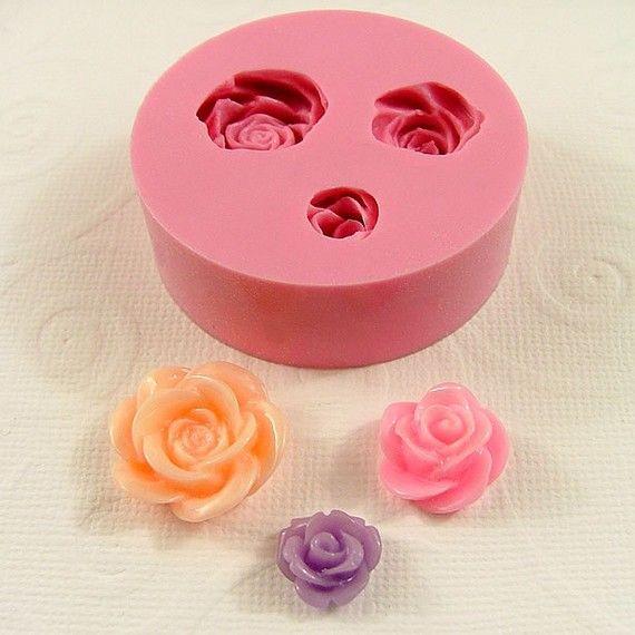 Moldes de arcilla de flor Cabochon molde rosas asistente tamaños Flexible silicona molde molde resina pmc polímero (183)