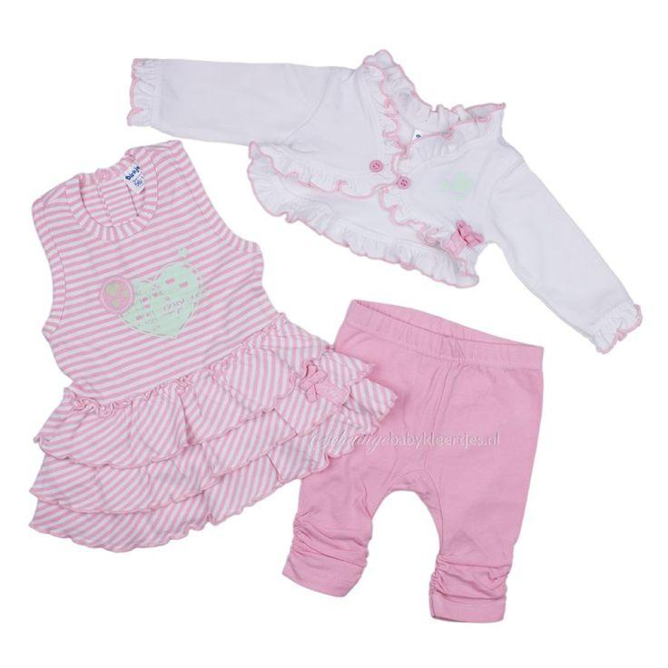 Lichtroze/wit setje van Dirkje met mouwloos jurkje, bolero en legging. Helemaal compleet, ook leuk cadeau!