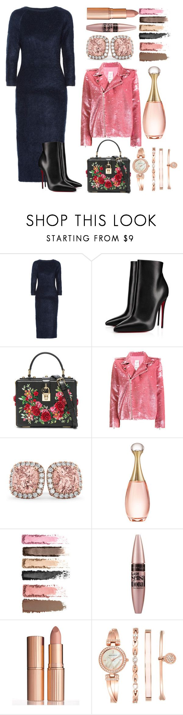 """""""She's kept it uncomplicated"""" by pulseofthematter ❤ liked on Polyvore featuring Prada, Christian Louboutin, Dolce&Gabbana, Ashish, Allurez, Christian Dior, Maybelline, Charlotte Tilbury and Anne Klein"""