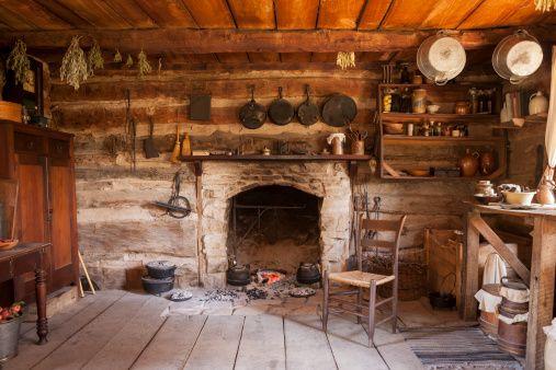 19th Century log cabin interior.