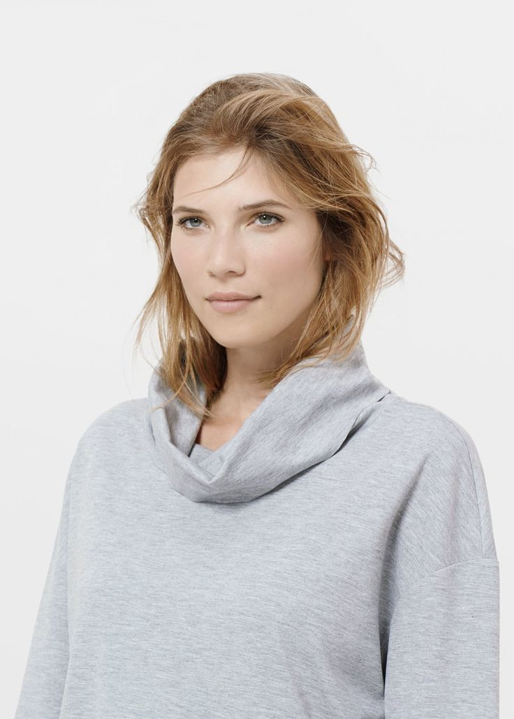 Cowl turtle neck sweatshirt - Cardigans and sweaters Plus size | VIOLETA BY MANGO