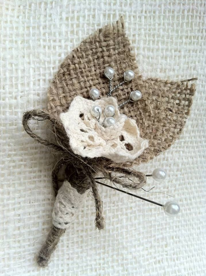 Rustic country wedding burlap and crochet butonniere