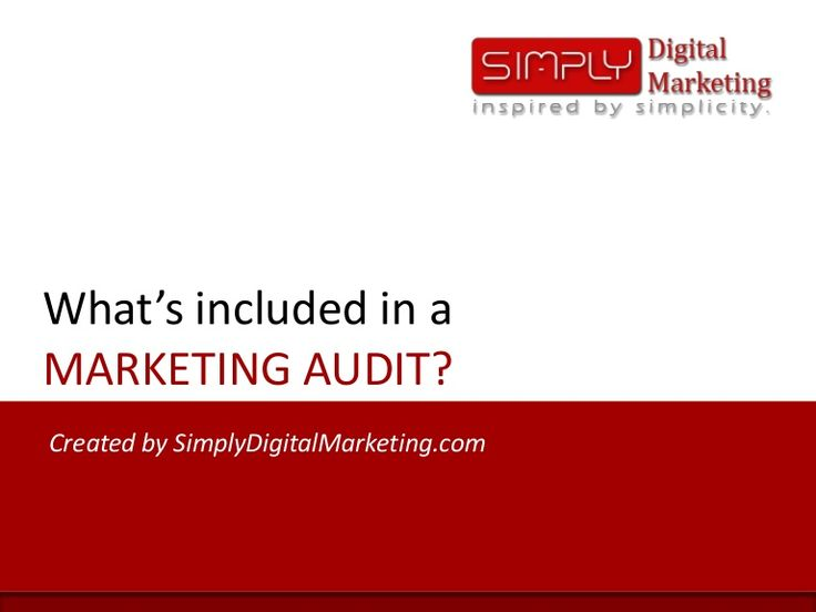 A highlevel overview on what is included in a Marketing Audit.
