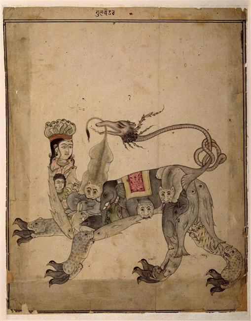 Animal mythique à figure humaine Animal mythique à figure humaine, le corps est composé d'animaux divers : tigres, lions, éléphants, poisson...