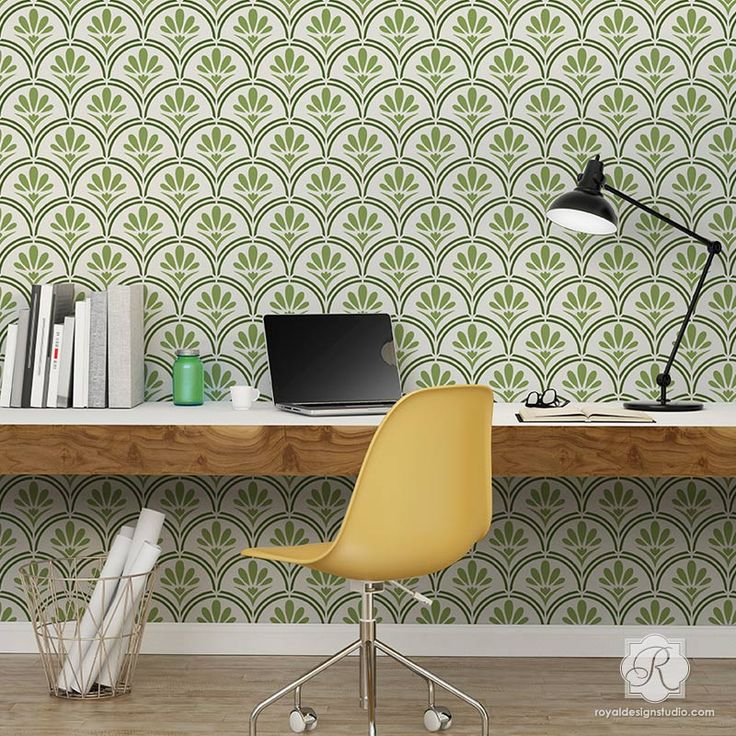 Large Designer Wallpaper Wall Stencils with Flower Scallop Design - Fanfare Scallop Wall Stencils - Royal Design Studio