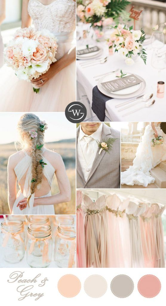 Gray peach wedding