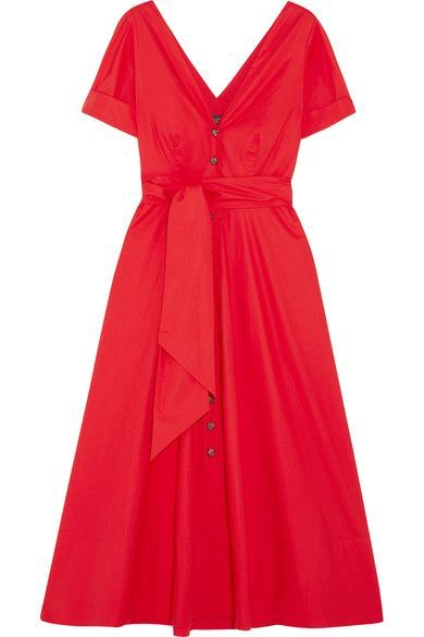 Saloni - Zoey Cutout Stretch-cotton Poplin Midi Dress - Red - UK