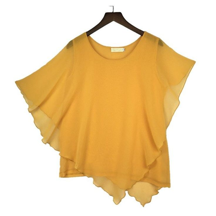Plus size S-6XL Ladies Chiffon Blouses Batwing Asymmetric Sleeves Yellow Shirt #Unbranded #Blouse #Casual