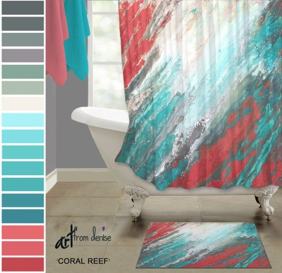 Teal And Coral Shower Curtain And Bath Rug Sets Turquoise Aqua Gray And Teal Bathroom Decor Fabric Shower Stall Curtain Bath Mat Teal Bathroom Decor Aqua Bathroom Decor Teal Shower