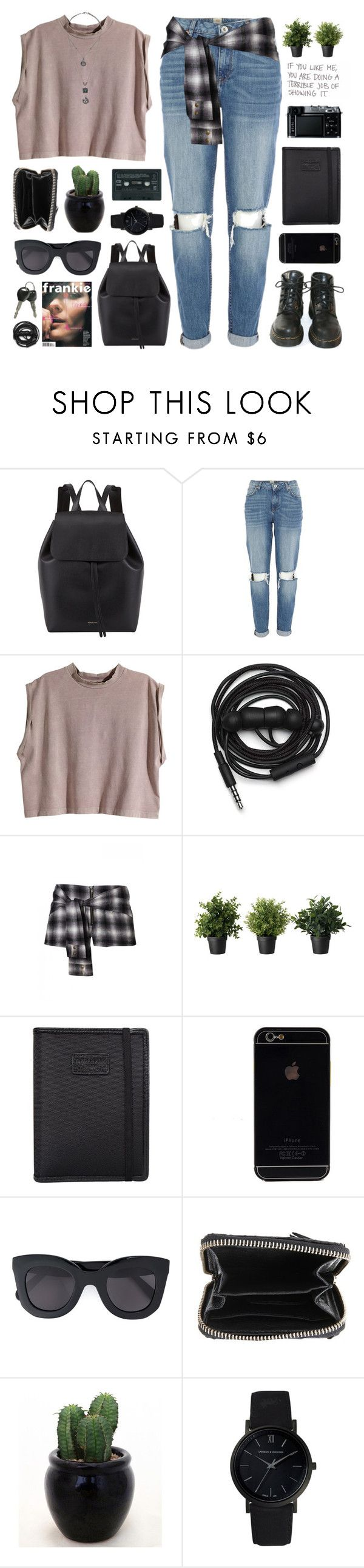 """Audrey"" by chelseapetrillo ❤ liked on Polyvore featuring Mansur Gavriel, River Island, H&M, Dr. Martens, Urbanears, Nava, Retrò, CÉLINE, Zadig & Voltaire and Larsson & Jennings"