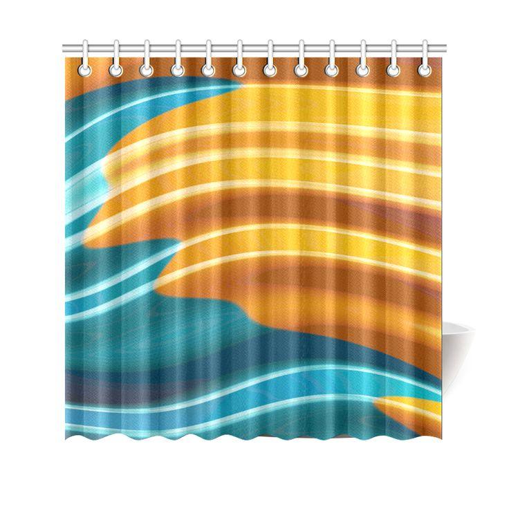 Teal Orange Modern Wave Fractal Art Shower Curtain 69