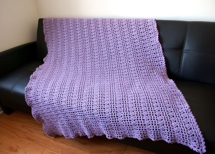 Violet Afghan, Handmade Throw, crochet blanket, Bed Cover, Wedding gift, medium weight, Purple, Lavender, Light, Ready to Ship