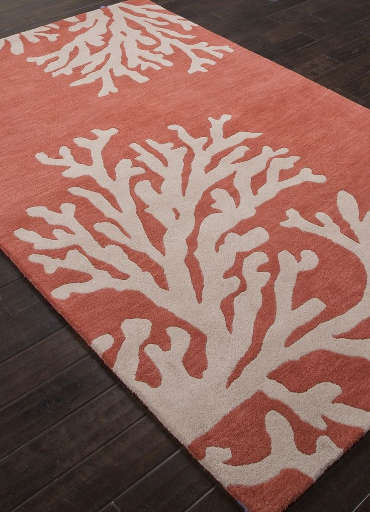 Love! Coastal Seaside Coral Rug - Apricot and Beige