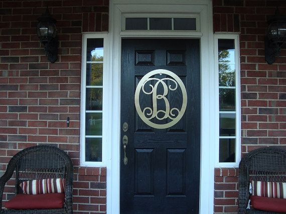 Metal monogram door hanger,  monogrammed door wreath,  door letters, initials for the door,  by housesensations  Oval Monograms $45.