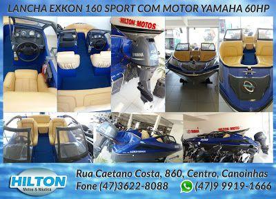 HILTON MOTOS: Lancha Exkon 160 Sport com Motor Yamaha 60HP. Vem ...