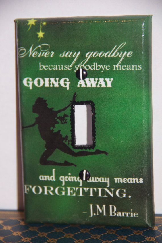 Peter Pan/JM Barrie Quote Switch Plate by SpunkKnit on Etsy