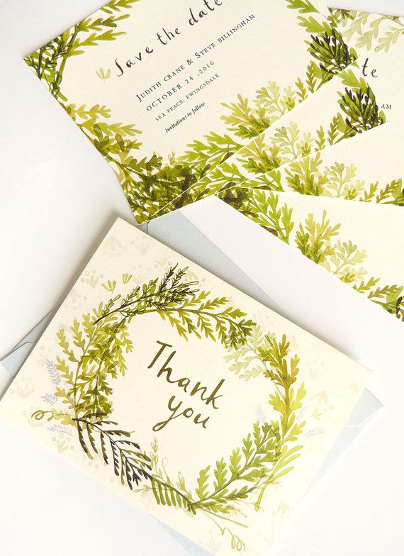 Vintage Fern Wedding Stationery by JollyEdition on Etsy                                                                                                                                                                                 More