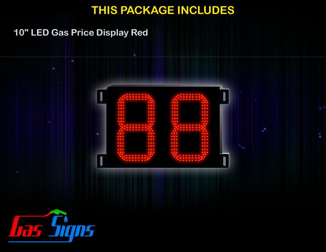 10 Inch 88 LED Gas Price Display Red with housing dimension H347mm x W424mm x D55mmand format 88 comes with complete set of Control Box, Power Cable, Signal Cable & 2 RF Remote Controls (Free remote controls).