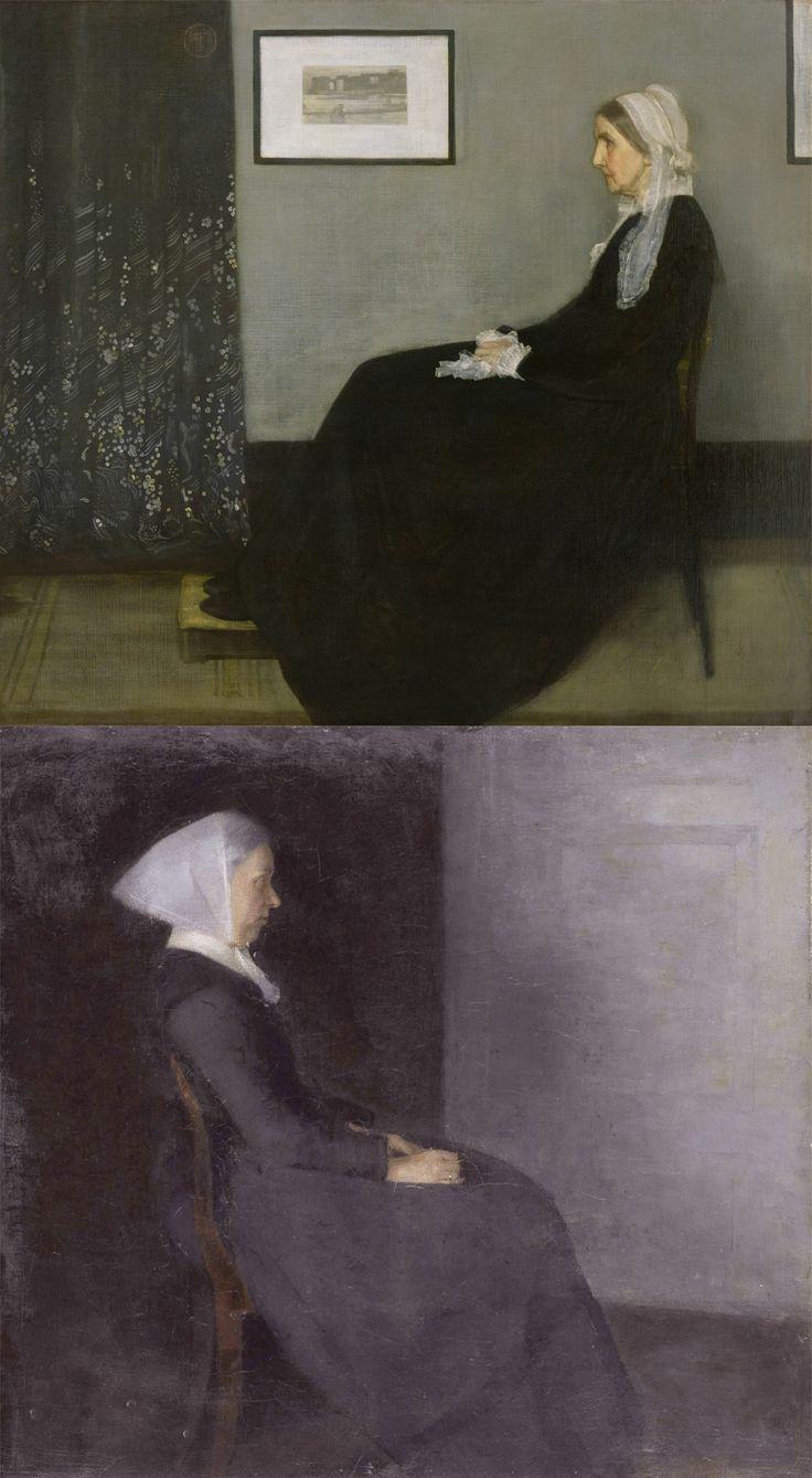 Whistler's Mother (1871) - James Abbott McNeill Whistler Frederikke Hammershøi, Artist's Mother (1886)- Vilhelm Hammershøi