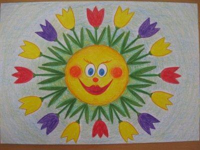 Jarní sluníčko - kresba pastelkami