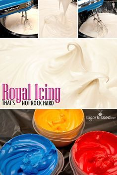 This is my favorite royal icing recipe. It doesn't dry rock hard! How cool is that?