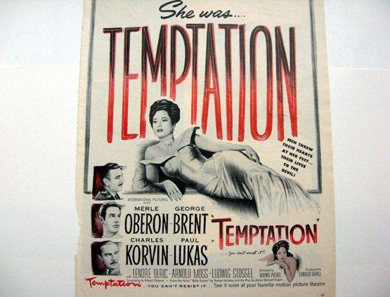 Temptation Movie Ad - 1940s classic movie ad movie decor movie art Merle Oberon George Brent Egypt film noir cigar ad modern dance