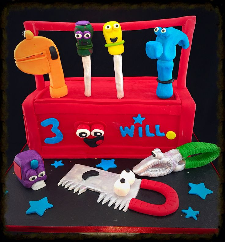 Handy manny red toolbox cake with tools for a 3rd birthday