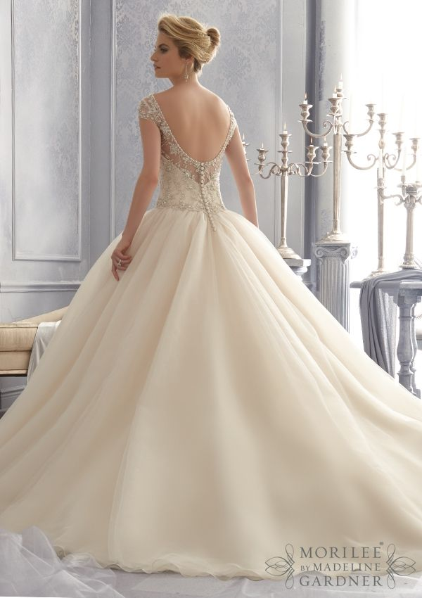 Bridal Gown From Mori Lee By Madeline Gardner Dress Style 2680 Embroidered Bodice with Crystal Beading on a Tulle Bridal Gown