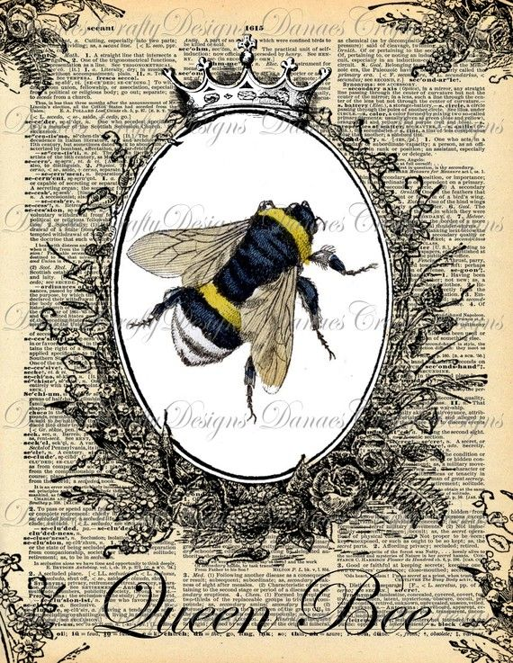 Queen Bee  Instant Download  Vintage Bumble Bee with Crown