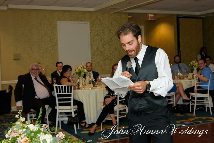 Best Man giving a toast to the groom at the Water's Edge reception in Westbrook Connecticut