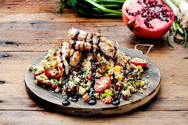Ταμπουλέ αντιοξειδωτικό με ψητά λαχανικά και κοτόπουλο γλυκόξινο (18.05.16)