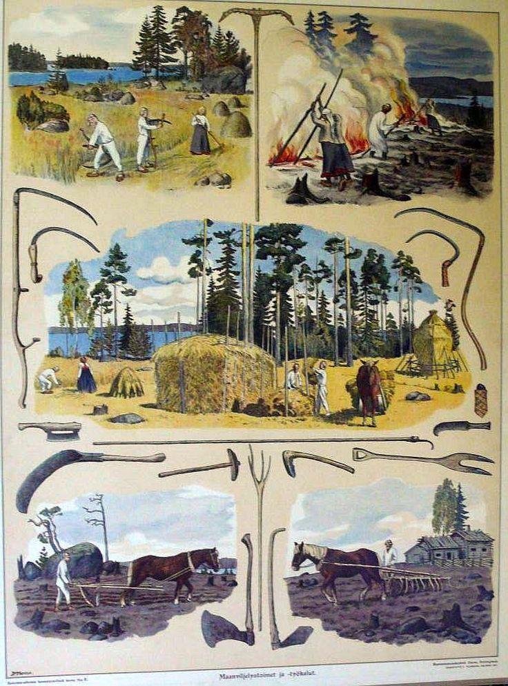 the old school's educational board, agricultural activities and tools - Opetustaulu, maanviljelystoimet ja -työkalut