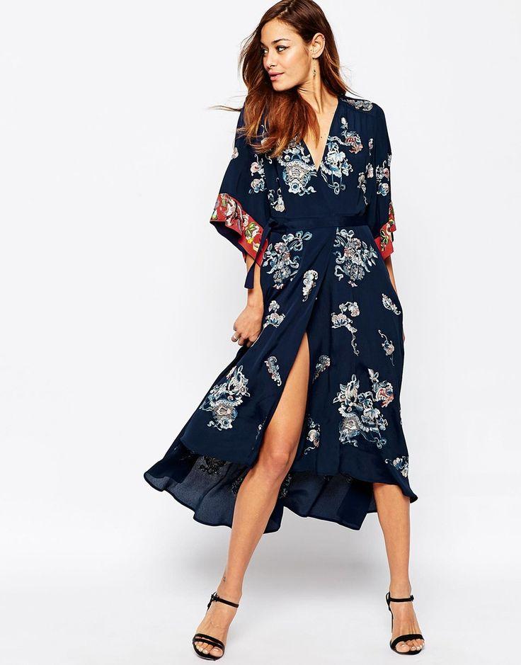 ASOS Embroidered Kimono Wrap Midi Dress