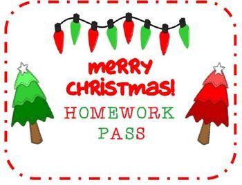 FREE Christmas/Holiday Homework Pass!!