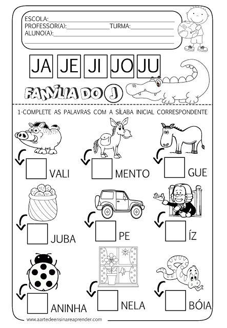 A Arte de Ensinar e Aprender: Atividade pronta - Família silábica do J