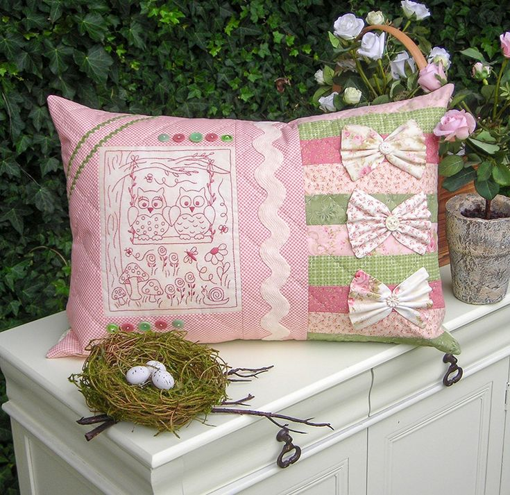 """""""Love Birds"""" by Sally Giblin of The Rivendale Collection. Finished cushion size: 15 """" x 21½"""" #TheRivendaleCollection stitchery, appliqué and patchwork patterns.  www.therivendalecollection.com.au"""