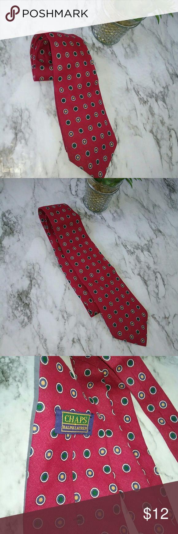 CHAPS RALPH LAUREN MENS RED POLKA DOT TIE This is a chaps Ralph Lauren red polka dot tie. It is a lightweight cotton fabric. It is in great pre-owned condition. Chaps Ralph Lauren Accessories Ties