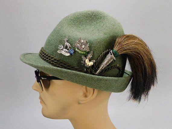 Vintage Tyrolean Oktoberfest Hat Bavarian Hunters Hat Wisko Alpine Hat Wild Boar Brush Kufstein Obersdorf Edelweiss Hat Pi German Hats Hunting Hat Hats