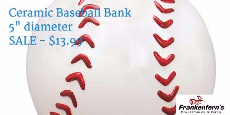 """Ceramic Baseball Bank 5"""" diameter SALE - $13.99"""