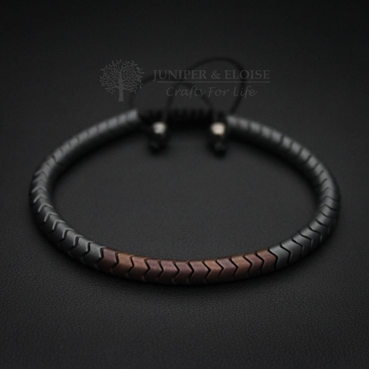 Mens Bracelet, Snakeskin Bracelet, Hematite Bracelet Hand crafted Premium Design Bracelet made with matte gray and bronze color snake skin beads. Its adjustable, utilizing a sliding knot made with macrame cord and is easy to put on and take off by yourself. Please choose one of the 2 size options (For Men or Women) from drop down menu. Men`s Size : 7 - 8.5 (18 cm -21 cm) Women`s Size: 6 - 7.5 (16 cm -19 cm) You may have a piece created just for you. Please send message for custom ...