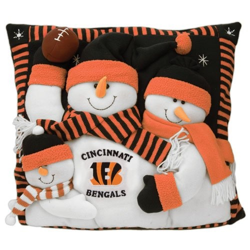 "$40.00 Cincinnati Bengals Snowman Family Pillow - SC Sports 18"" Snowman Family Pillow. Each pillow includes an embroidered team logo on snowman family of 3 dressed in NFL team colors. http://www.amazon.com/dp/B001B11C36/?tag=pin2wine-20"
