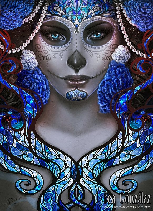 mexican skull women art | Blue Death by Vhea | Mask & Mexican Skull painting
