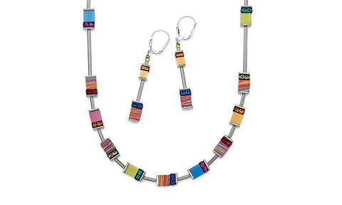 Geo Cube malachite multicolour long necklace and earrings 4795_1500