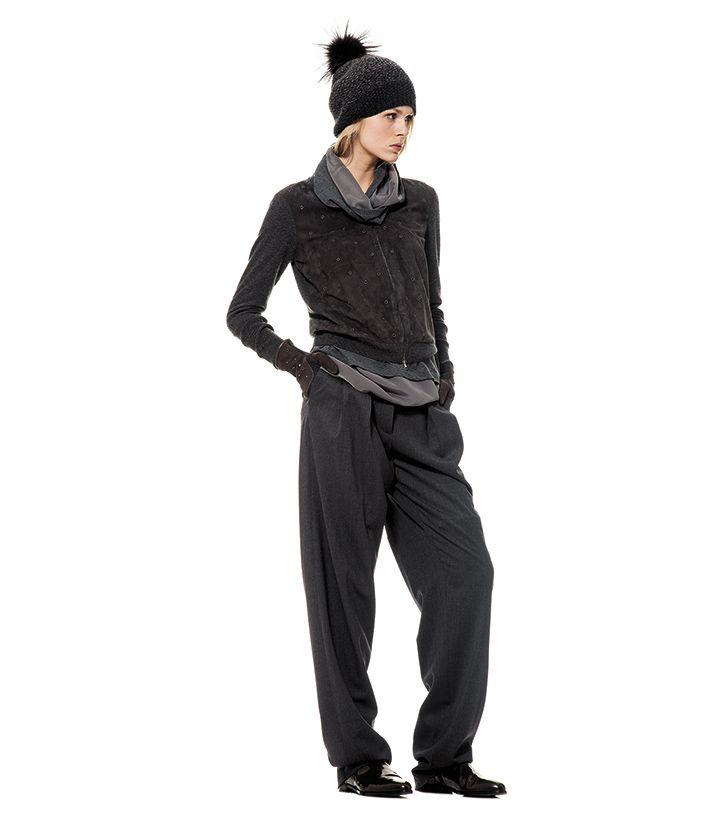 Micro studs on suede sleeveless tops #FabianaFilippi #fashion #style #aw1415