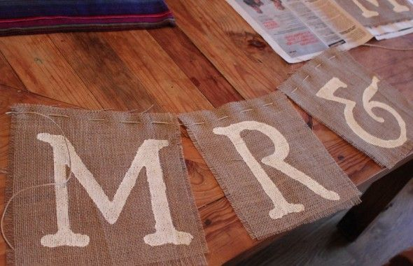 Mr. & Mrs Burlap Wedding Sign