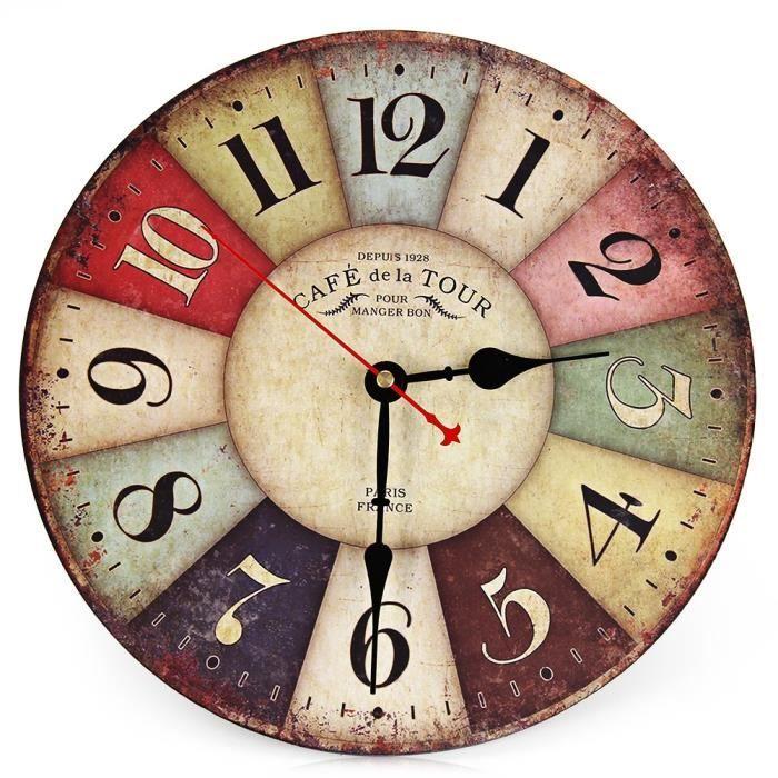 Vintage Horloge Silencieuse Pendule Murale Colore En Bois Pendule Murale Horloge Murale Decoration Horloge Murale
